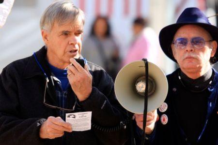 David Hartsough reads code of non-violence