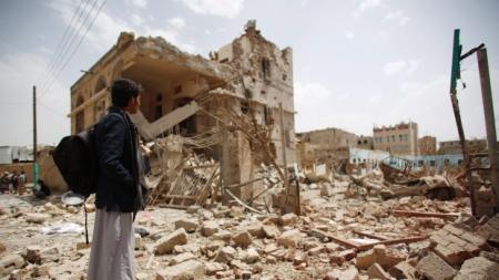 Buildings destroyed by Saudi airstrike